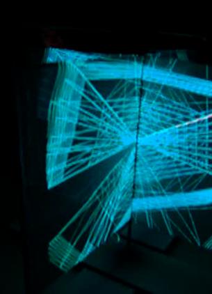 Testaufbau einer pseudo-holographischen Projektionssituation, zusammen mit Sarah Feilmayr und Florian Voggeneder.